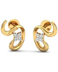 Diamoire Jewels - 18kt Yellow Gold 0.08ct Pave Diamond Infinity Earrings Ii - Lyst