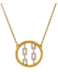 Susan Wheeler Design - Pave Hicks Circle Of Gold Necklace - Lyst
