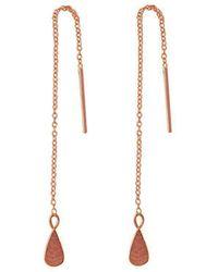 Murkani Jewellery - Rose Gold Tear Drop Thread Earrings - Lyst