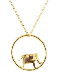Origami Jewellery - Sterling Silver & Gold Plate Elephant Circle Origami Necklace - Lyst