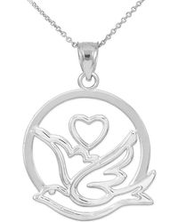 QP Jewellers - Dove Heart Pendant Necklace In Sterling Silver - 25.4mm - Lyst
