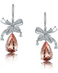 SILVER YULAN - Pear Cut Morganite Bow Earrings - Lyst