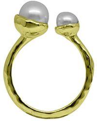 Murkani Jewellery - Gold & Double White Pearl Riveria Ring - Lyst