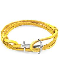 Anchor & Crew - Mustard Yellow Admiral Silver And Leather Bracelet - Lyst
