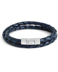 Tateossian - Silver & Blue Leather Double Wrap Scoubidou Bracelet   - Lyst