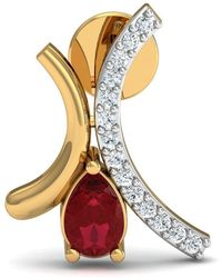 Diamoire Jewels - Prong Set Premium Ruby Earrings With 30 Diamonds In 14kt Yellow Gold - Lyst