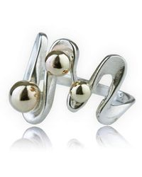 Lavan - Handmade Gold And Silver Wavy Ring - Lyst