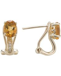 Lali Jewels - 14kt Yellow Gold Diamond And Citrine Earring - November Birthstone - Lyst