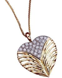 Daou Jewellery - Heart Leaf Diamond Gold Pendant - Lyst