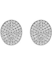 LÁTELITA London - Rhodium Plated Sparkling Oval Disc Earrings - Lyst