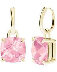 StyleRocks - Rose Quartz 9kt Yellow Gold Checkerboard Drop Earrings - Lyst
