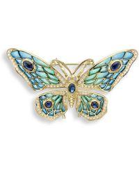 Nicole Barr - 18kt Gold Butterfly Blue Brooch - Lyst