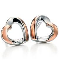 Fiorelli - Rose Gold Detail Ribbon Heart Stud - Lyst