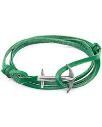 Anchor & Crew - Fern Green Admiral Silver And Leather Bracelet - Lyst