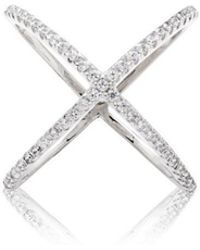 Nialaya - Cross Over Ring In Silver - Lyst