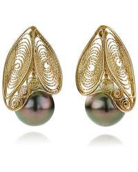 AMMA Jewelry - 14kt Gold Filigree & Tahitian Pearl Black Butterfly Earrings - Lyst