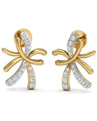 Diamoire Jewels - Nature Inspired 10kt Yellow Gold And Diamond Pave Earrings - Lyst