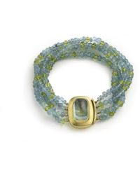 Julia Lloyd George - Four Stand Aquamarine And Peridot Bead Bracelet With Large 18kt Clasp With An Aquamarine Cabochon - Lyst