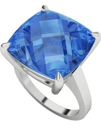 StyleRocks - Blue Topaz Cushion Checkerboard Sterling Silver Ring - Lyst