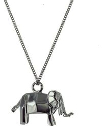 Origami Jewellery - Elephant Black Silver Necklace - Lyst