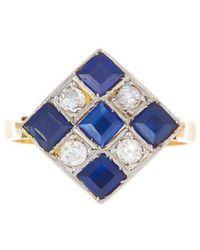 Alexis Danielle Jewelry - Art Deco Checkerboard Diamond And Sapphire Ring - Lyst