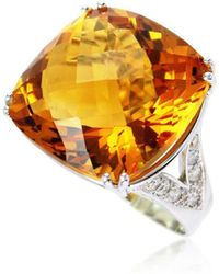 Cherie Thum - Fire And Ice Cushion Citrine Ring - Lyst
