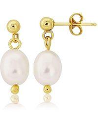 Lavan 9kt Gold & Large Grey Pearl Drop Earrings 0Z52YQ