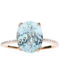 Oh my Christine Jewelry - Oval Aquamarine Ring With Diamond Band - Lyst