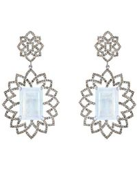 Arya Esha - Silver, Moonstone & Diamond Drop Earrings | - Lyst