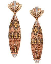 "Dallas Prince Designs | ""mosaic"" Earring With Golden Sapphire And Diamonds 