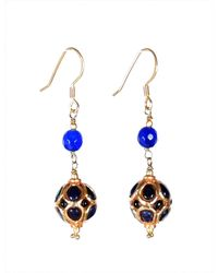 M's Gems by Mamta Valrani - Panache Hook Earrings With Blue Jade - Lyst