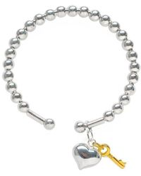 Lily Blanche - Silver Heart Ball Bangle - Lyst