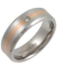 Star Wedding Rings - Titanium And 9kt Rose Gold Inlay Flat Court Shape Diamond Matt Ring - Lyst
