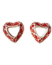 Toosis - Ruby Red Heart Geometric Silver Enamel Earrings - Lyst