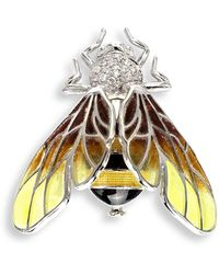 Nicole Barr - Silver Bee Yellow Brooch - Lyst