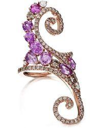 Pinomanna - Rose Gold, Diamond & Sapphire Ramage Collection Ring | - Lyst
