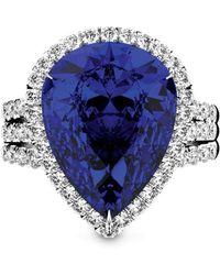 MARCELLO RICCIO - White Gold, Blue Sapphire & Diamond Cocktail Ring - Lyst