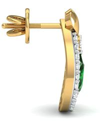 Diamoire Jewels Hand-hammered 14kt Yellow Gold Earrings with Pear Cut Emerald and Round Diamonds ugObqMfGc