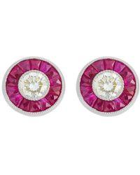 Alexis Danielle Jewelry - Art Deco Rubyᅠand Diamond Halo Earrings - Lyst