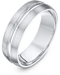 Star Wedding Rings - Palladium Court Shape Matt & Polished Wedding Ring - Lyst