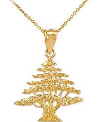 QP Jewellers | Cedar Tree Of Lebanon Charm Pendant Necklace 9kt Gold | Lyst