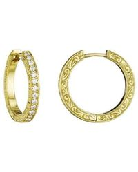 Penny Preville - Diamond Hoop Earrings - Lyst