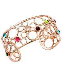 London Road Jewellery | Pimlico Bubble Rose Gold Multi Gem Cuff Bangle | Lyst