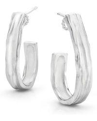 LJD Designs - Silver J Hoop Earrings - Lyst