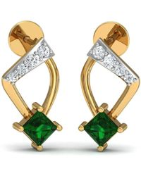 Diamoire Jewels Hand-hammered 18kt Yellow Gold Earrings with Pear Cut Emerald and Round Diamonds Q6hVZtu
