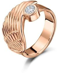 Becky Rowe - Rose Gold Angel Wing Ring - Lyst