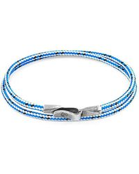 Anchor & Crew - Blue Dash Liverpool Silver And Rope Bracelet - Lyst