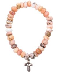 Heather Kenealy Jewelry - Pink Opal Bracelet With Sterling Silver Cross - Lyst