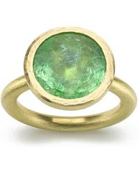 Julia Lloyd George - 18kt Yellow Gold Green Paraiba Tourmaline Ring - Lyst