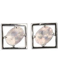 Carolin Stone Jewelry Sterling Silver Rose Quartz Charming Small Earrings - Metallic